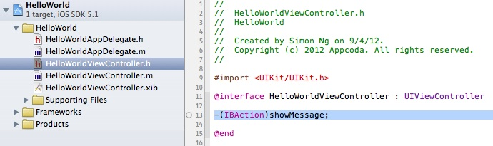 HelloWorldViewController Show Message