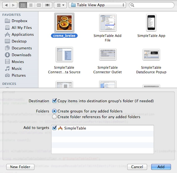 SimpleTable Add File Dialog