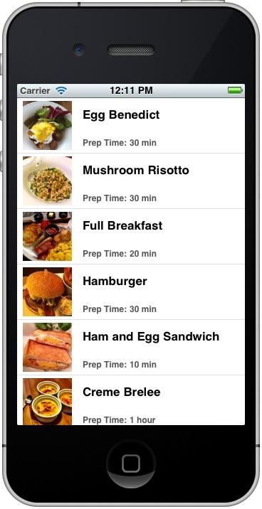 SimpleTable應用程序與自定義單元格的准備時間