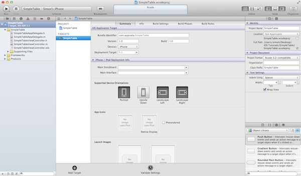 SimpleTable Xcode Main Screen