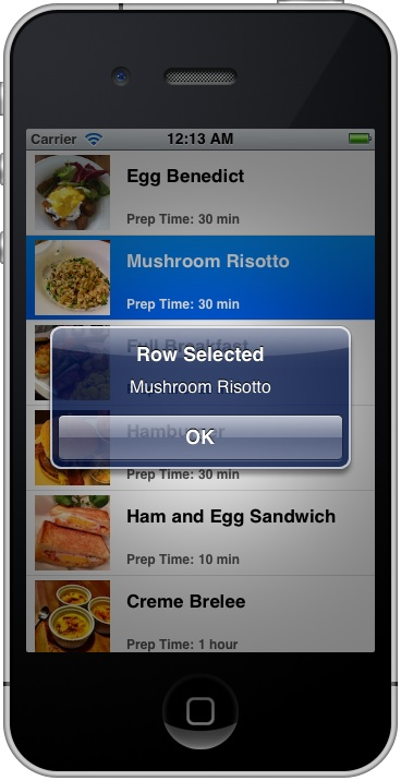 SimpleTableApp Row Selected Recipe