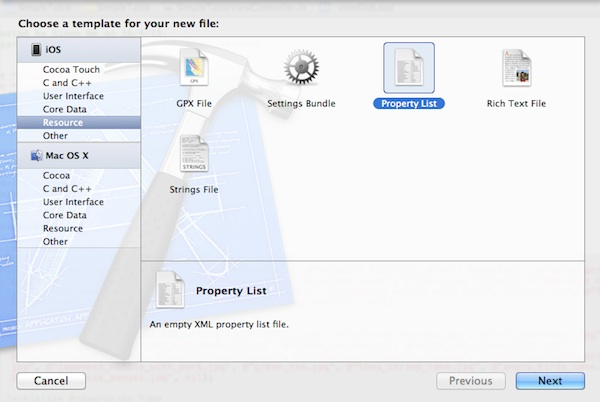 Xcode New Property List File