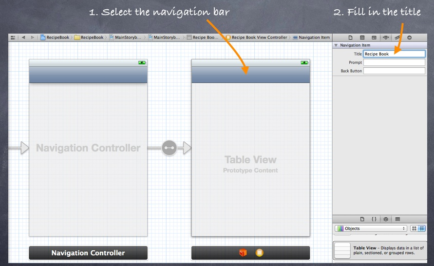 Storyboard Add Navigation Bar Title