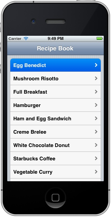 Storyboard Recipe App with Disclosure