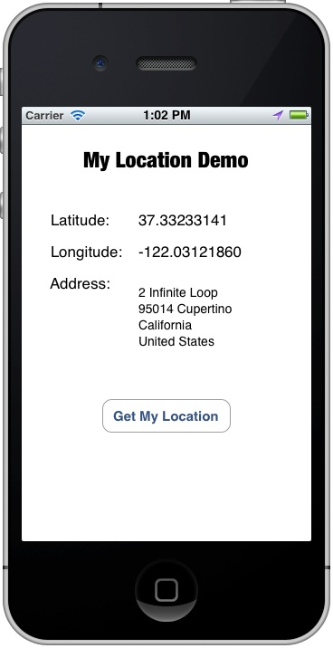 MyLocationDemo Address Resolved