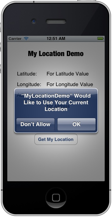 MyLocationDemo Location Alert