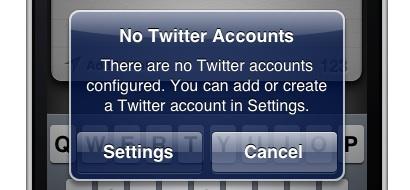 SocialSharing Twitter Account Error