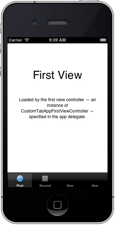 CustomTabApp with 4 Tabs