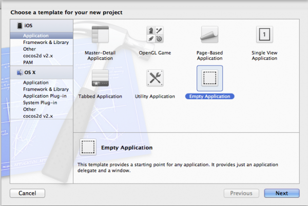Create a New Project with Empty Application Template