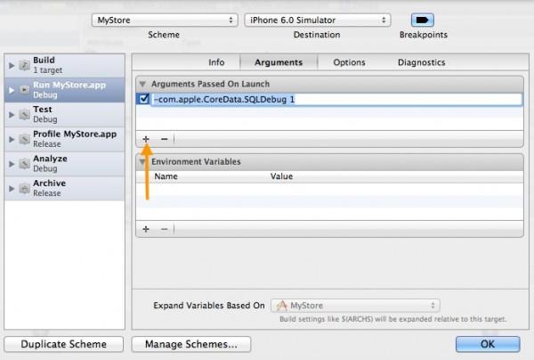 Xcode add SQL Debug Parameter