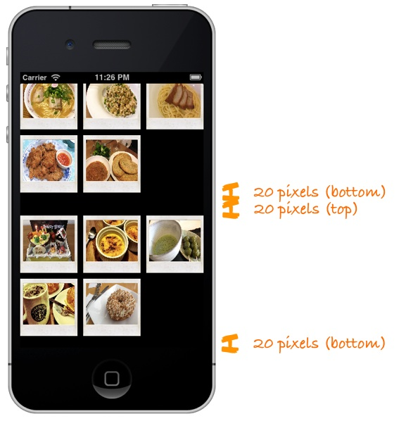 Recipe Collection View with Insets