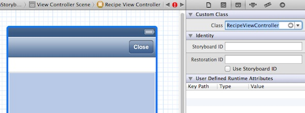 Set the custom class as RecipeViewController
