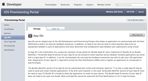 iOS Provisioning Portal - App ID