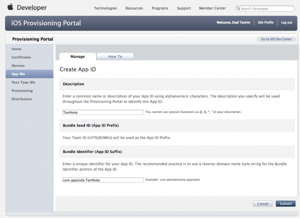 Creating App ID