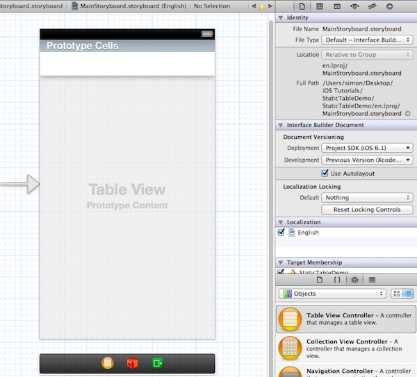 Static Table - Table View Controller