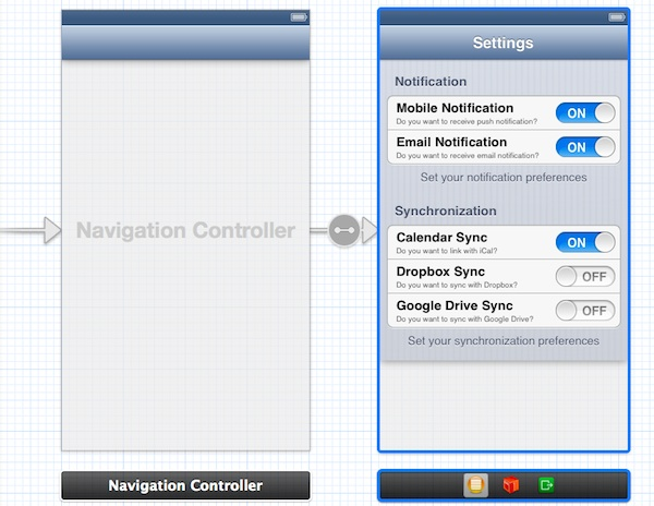 Static Table View Embed Navigation Controller