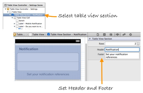 Static Table View Section
