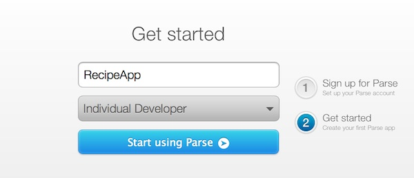 Sign up Parse First App