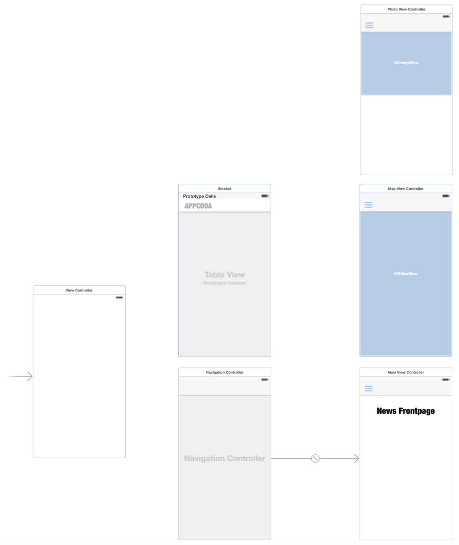 Sidebar Demo App Storyboard