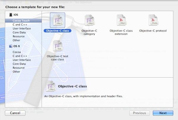 Xcode 5 Create New Class