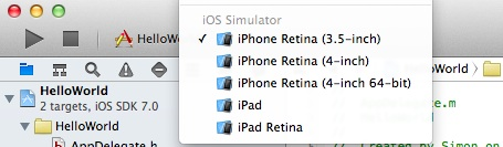 Xcode Simulator Selection