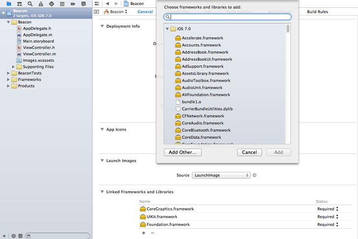 iBeacons - Adding Framework