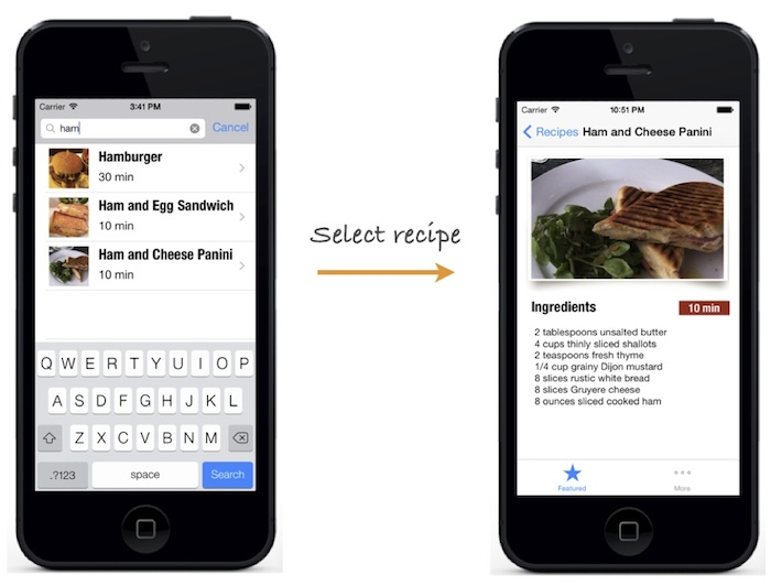 Recipe app displays the correct recipe in detail view