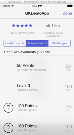 GameKit Demo - Sample Achievements
