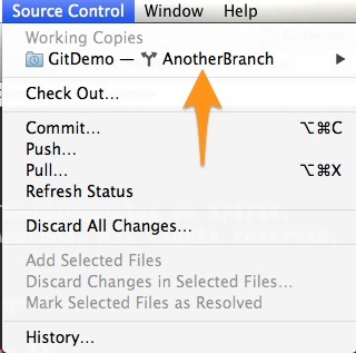 Version Control Xcode - Current Branch