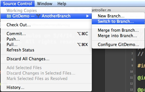 Xcode Version Control - Switch Branch