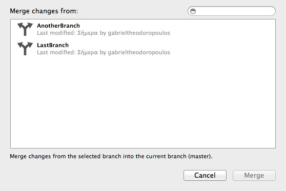 Xcode Version Control - Merge Branch