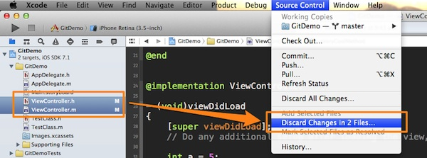 Xcode Version Control - Discard File