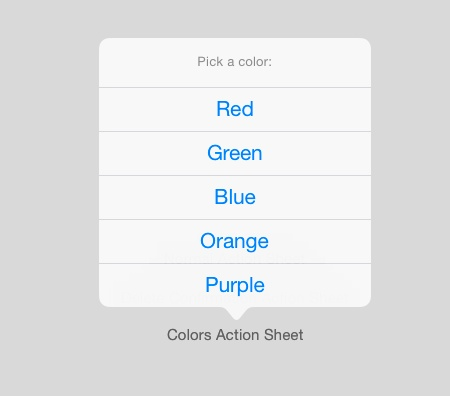 Color selection action sheet on iPad