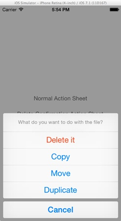 Normal Action Sheet in iOS 7