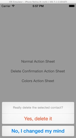 UIActionSheet - Delete Confirmation