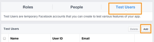 Facebook Login - Test User Link