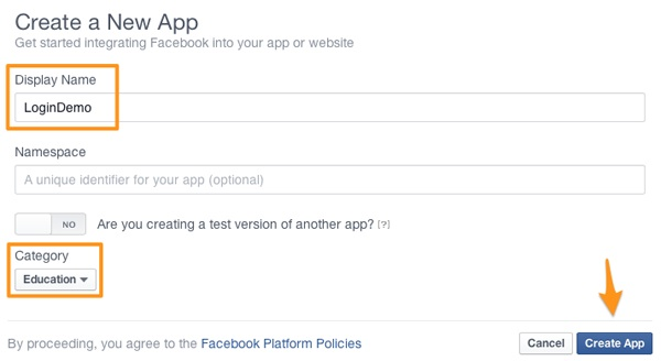 Facebook Login - Create New App