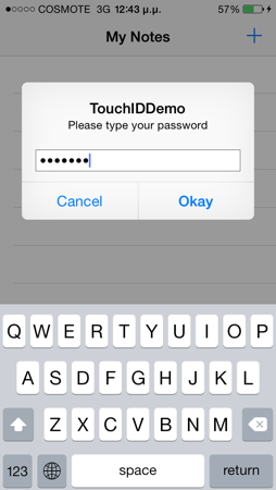 Alert View Sample Touch ID