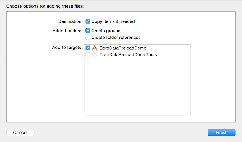 Import Core Data Database into Xcode Project