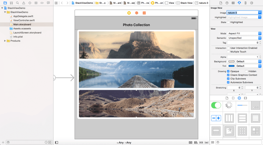 stack view - adding image