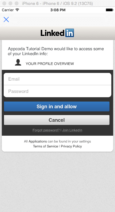 Integrating LinkedIn Sign In with iOS Apps Using OAuth 2.0 - AppCoda
