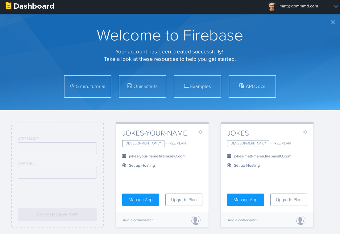 Firebase Create New App