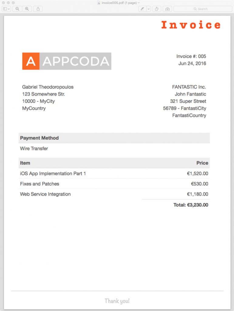 How To Generate PDF Using HTML Templates In IOS With Swift - Free invoice creator app