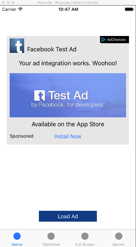 Facebook iOS Native Ads