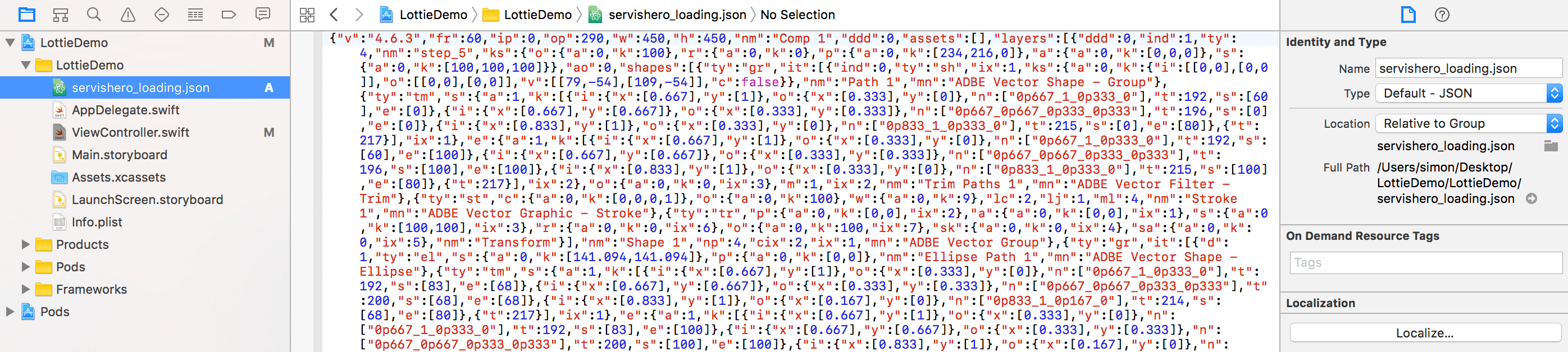Lottie JSON file
