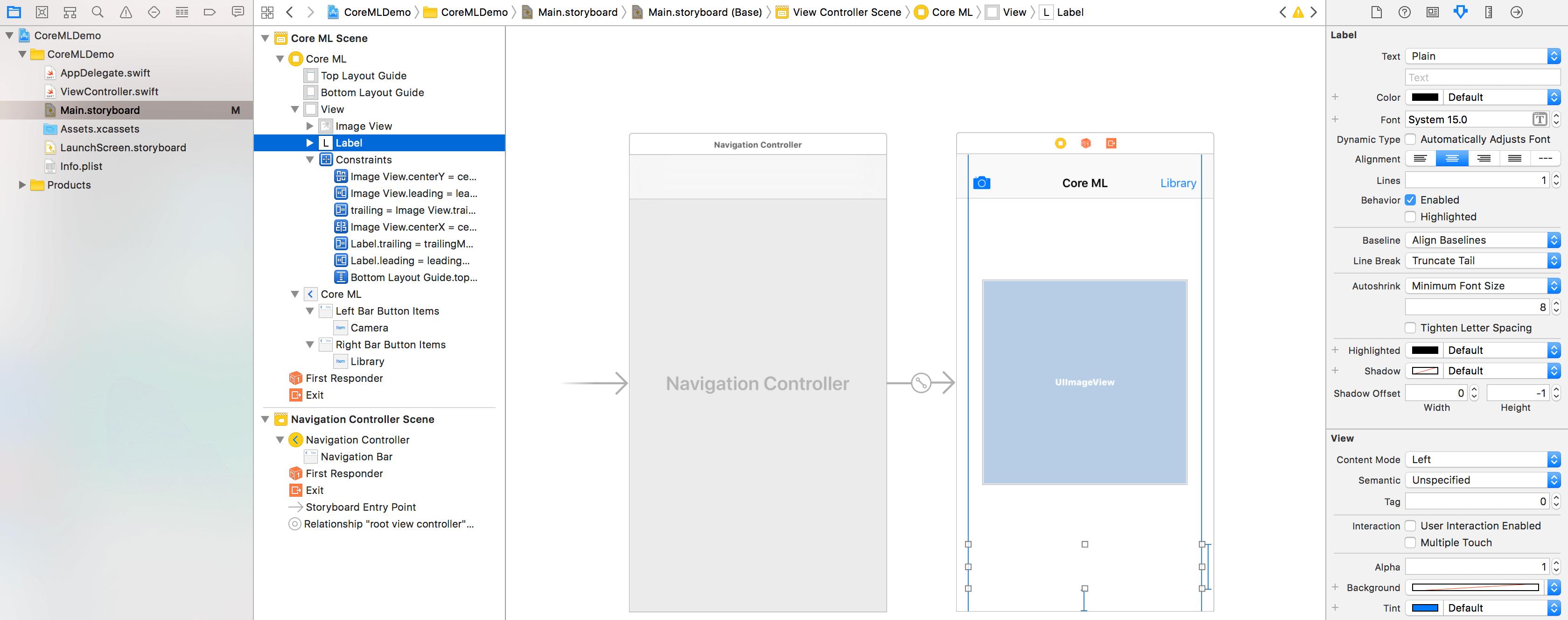 coreml-storyboard