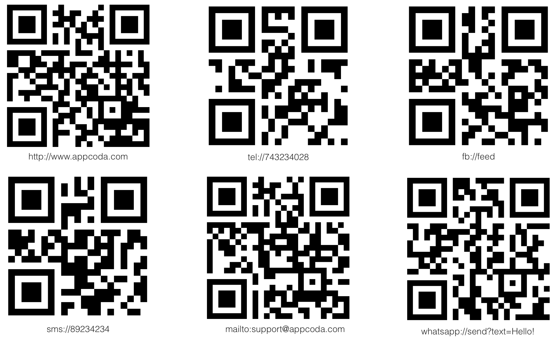 QR Code Sample with URL Schemes