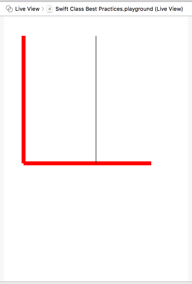 Red angle with black line