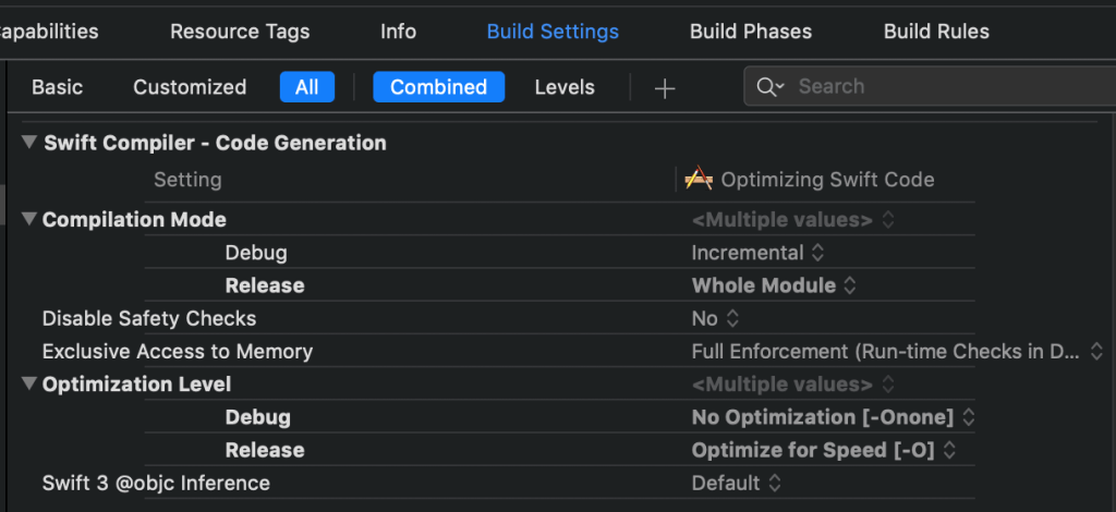 compiler build settings-xcode-instruments