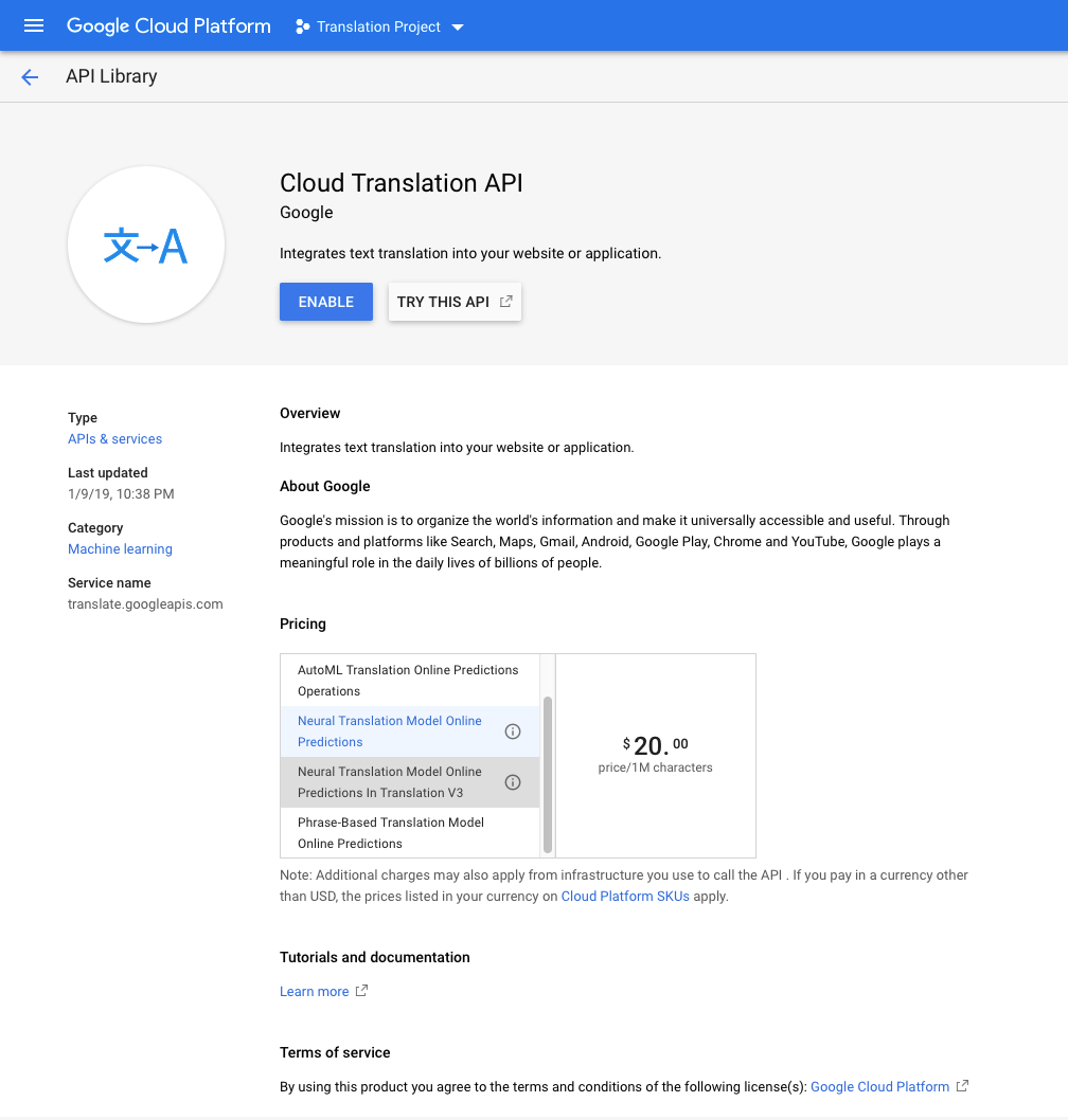 Enable Google Translation API